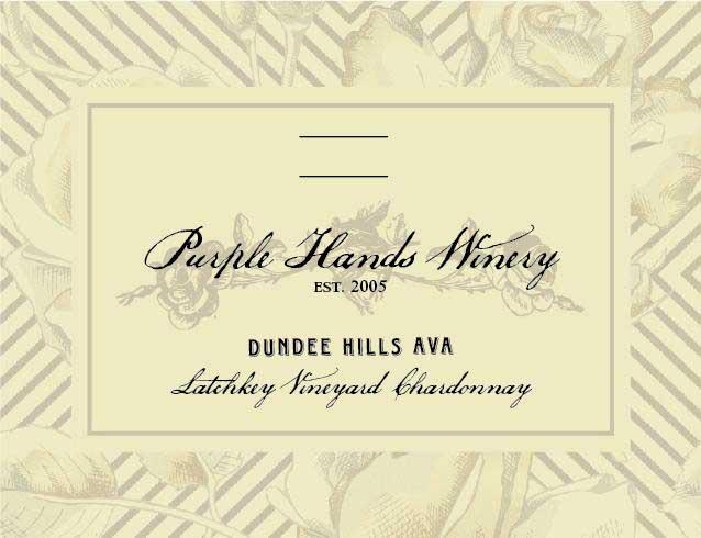 Purple Hands - Chardonnay - Latchkey Vineyard label
